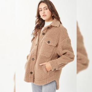 Oversized Teddy Button Up Jacket